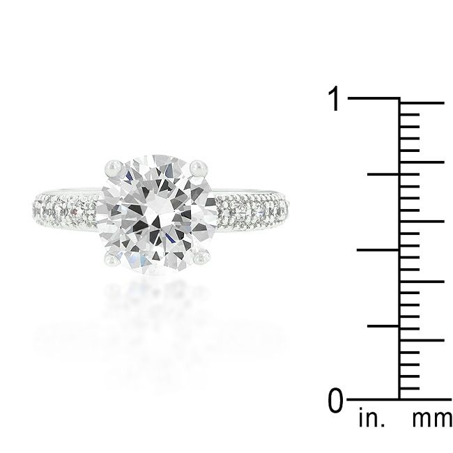 Micropave Cubic Zirconia Engagement Ring