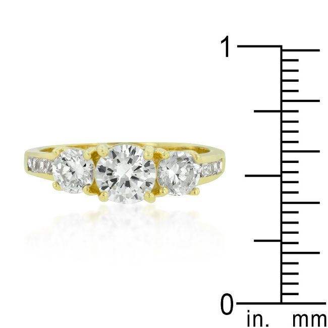 Triplet Golden CZ Wedding Ring