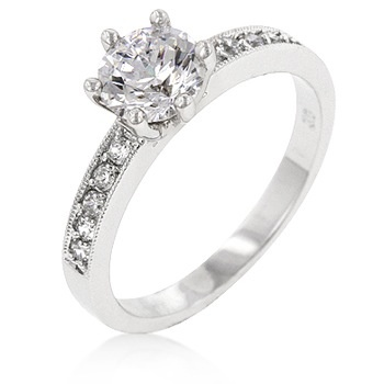 Petite White CZ Engagement Ring