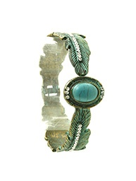 Turquoise Vintage Feather Cuff
