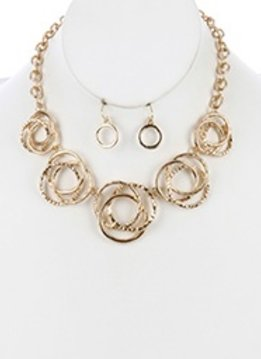 Gold Circle Statement Necklace