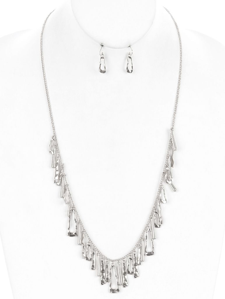 Long Fringe Silver Necklace