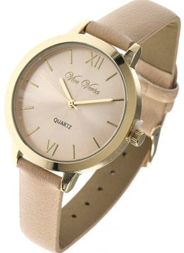 Gold and Nude analog watch