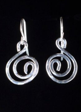 Something Charming Silver Swirl Hanging Earring