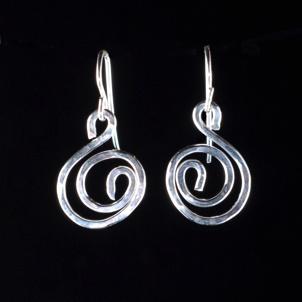 Something Charming Silver Swirl Hanging Earring