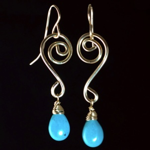 Something Charming Gold Swirl Hanging Earring with Blue Crystal