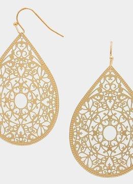 Teardrop Filigree Gold Earring