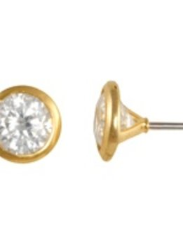 5mm Nickel Free Bezel Set CZ Gold Stud Earrings