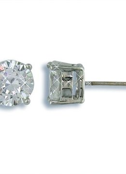 8mm Nickel Free Round CZ Stud Earrings Silver