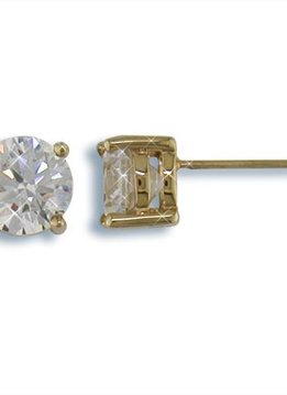 8mm Nickel Free Round CZ Stud Earrings Gold