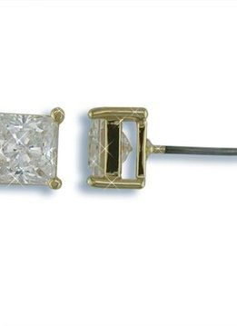 6mm Nickel Free Square CZ Stud Earrings Gold