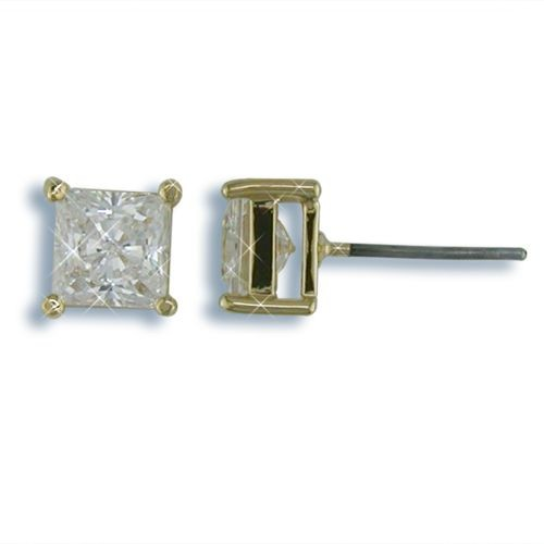 6mm Nickel Free Square CZ Stud Earrings Gold