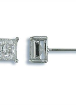 6mm Nickel Free Square CZ Stud Earrings Silver