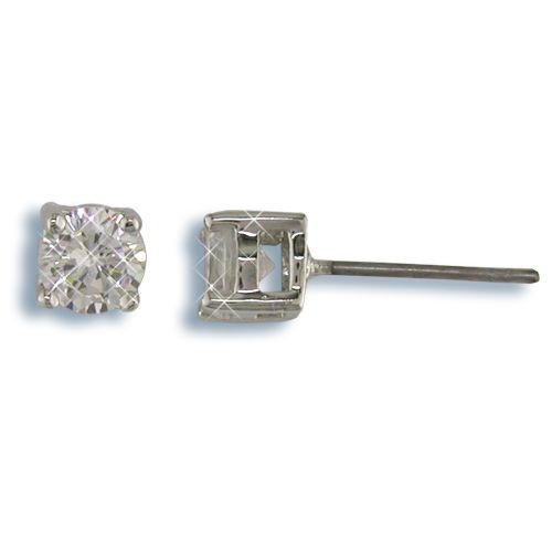 5mm Nickel Free Round CZ Stud Earrings Silver