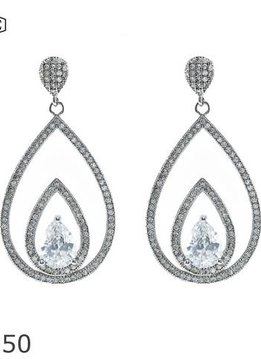 Cubic Zirconium and Silver Earrings with a 1.5 inch Drop