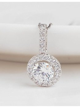 Sterling Silver Cubic Zirconium Round Pendant Outlined in Smaller CZ Diamonds