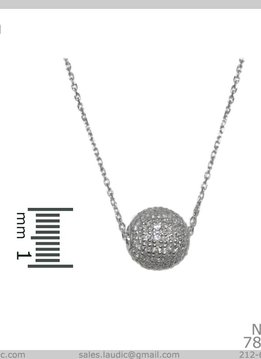 Cubic Zirconium Ball Pendant on a Silver Chain