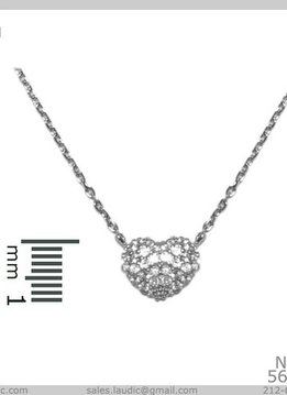 Cubic Zirconium Heart Pendant on a Silver Necklace