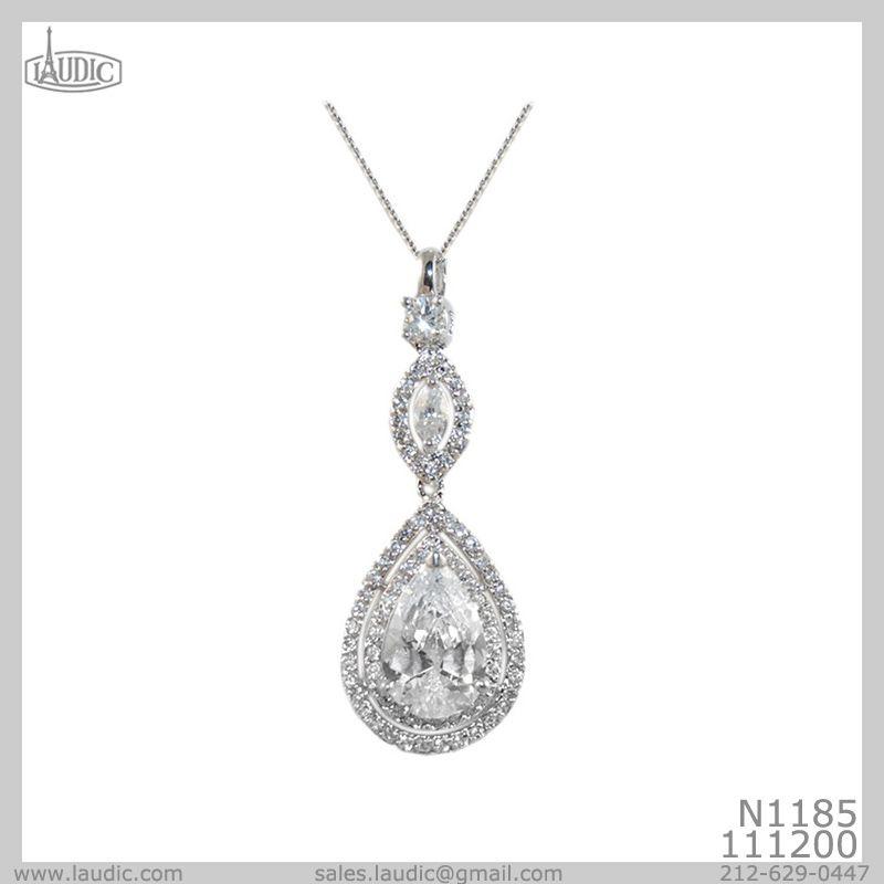 Cubic Zirconium Necklace with 1.75 inch Pendant drop