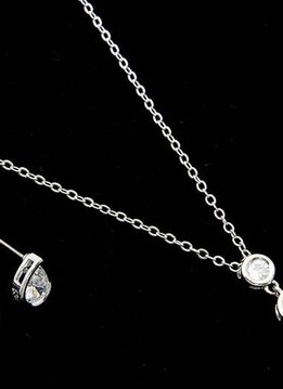 Silver Necklace with three crystals, 1 inch pendant drop. 18in Necklace