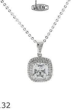 Square Cubic Zirconium pendant with 0.75 inch drop. 18inch Chain