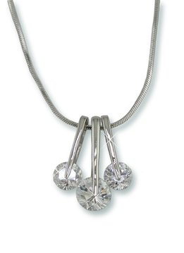 Three Layered Cubic Zirconium Pendant with 1inch Pendant Drop