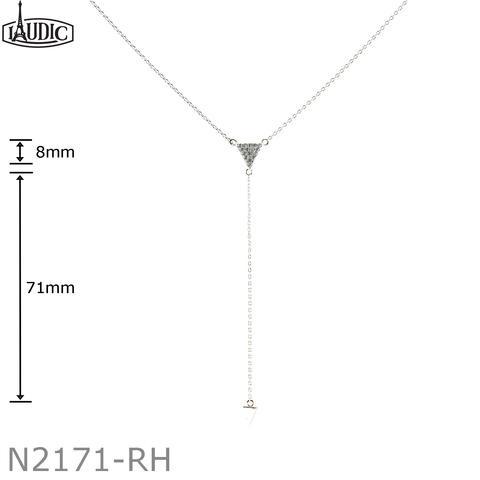Cubic Zirconium Triangle Pendant with 3.5 inch pendant drop