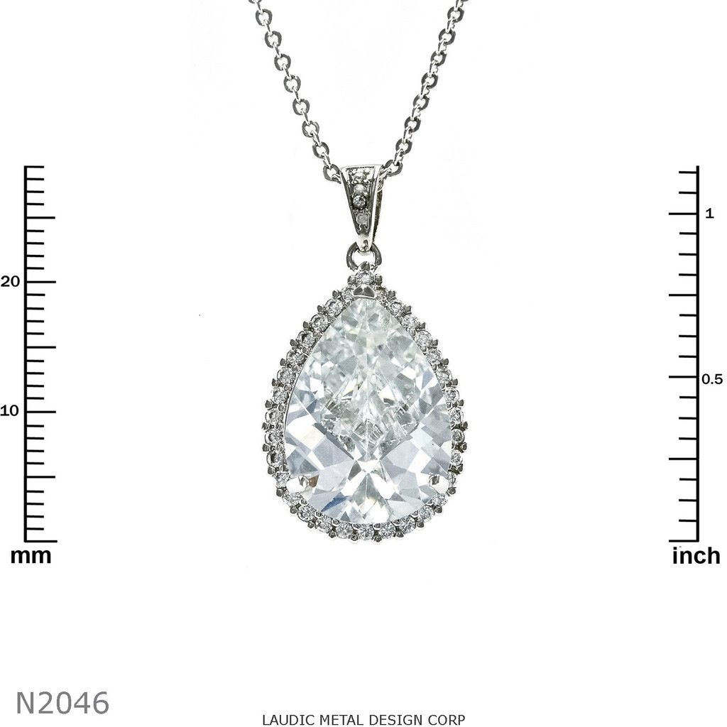 Cubic Zirconium Pendant with 1.25 inch drop. 18inch chain