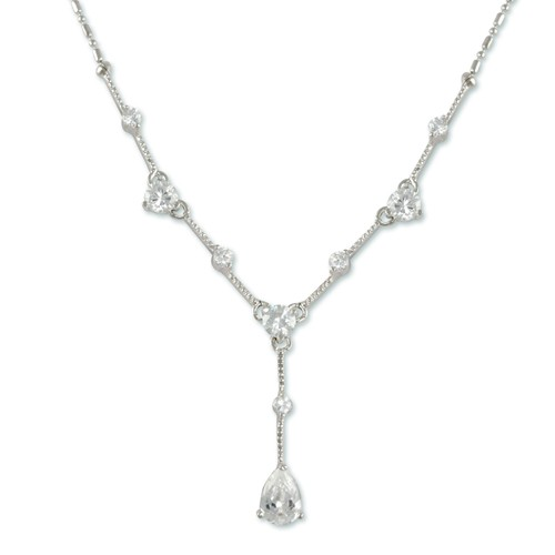 Cubic Zirconium Pendant with 1inch drop. 18inch chain
