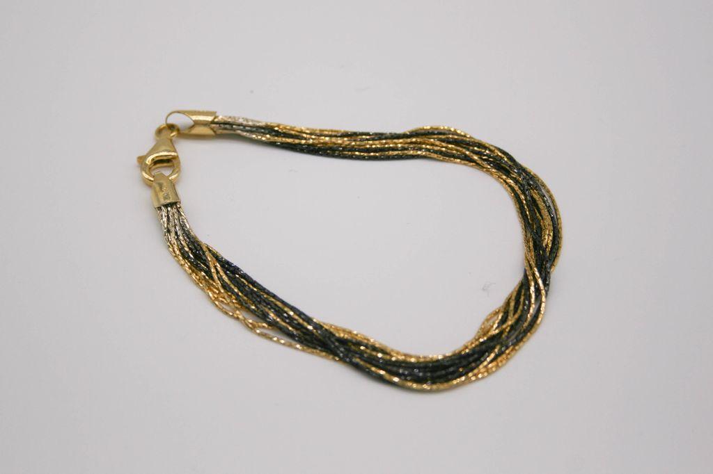 Gold and Black Sterling Silver MultiChain Bracelet