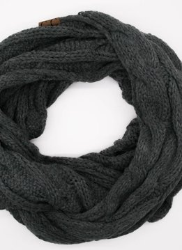 Dark Grey Winter Knit Infinity Scarf