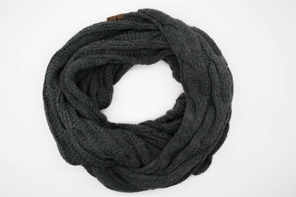 Dark Grey Winter Knit Infinity Scarf