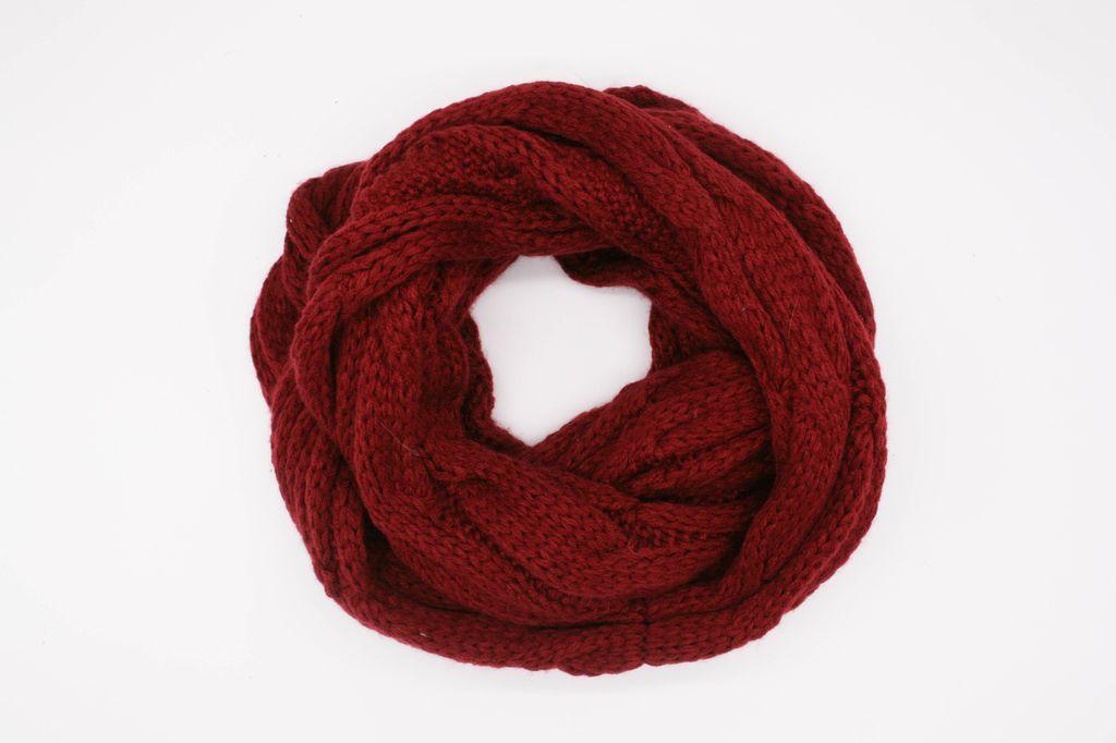 Burgandy Winter Knit Infinity Scarf