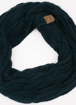 Navy Winter Knit Infinity Scarf.