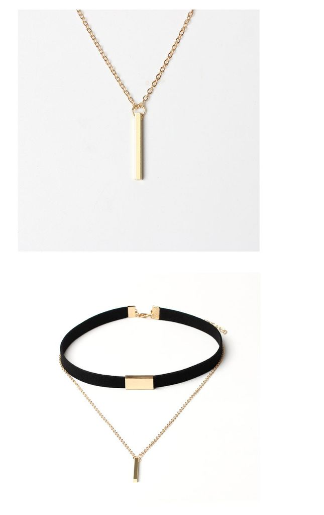 Choker Necklace 2 in 1 - black