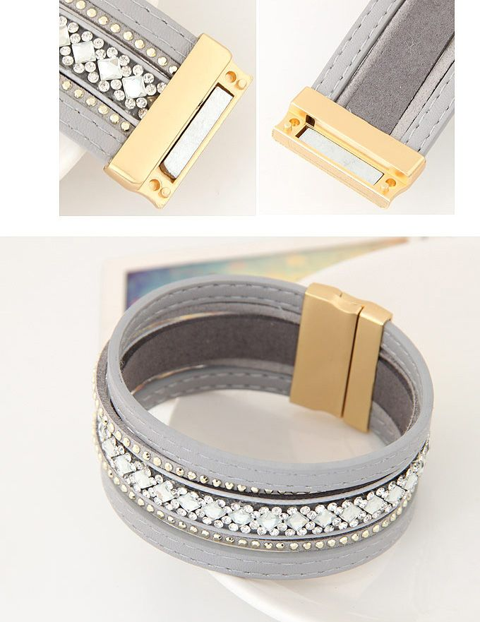 Faux Leather Magnetic Wrap Bracelet in Gray