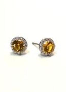 Premium CZ Birthstone Earrings-November
