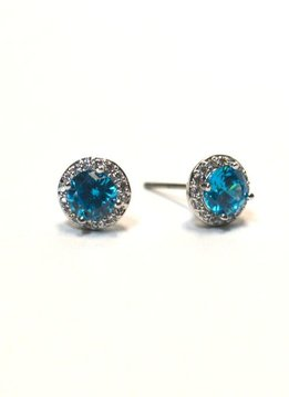 Premium CZ Birthstone Earrings-December