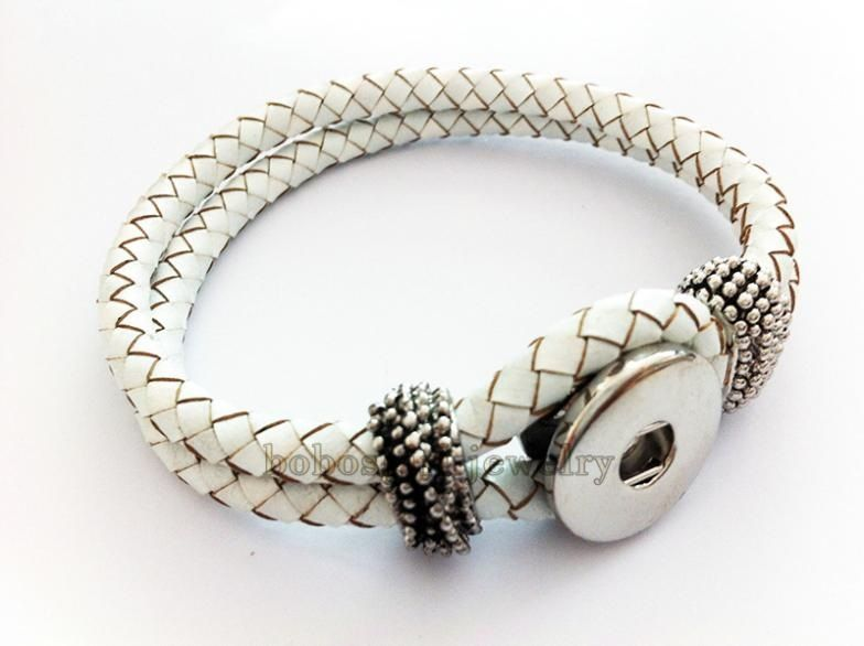 Braided White Leather Bracelet with Rhinestones