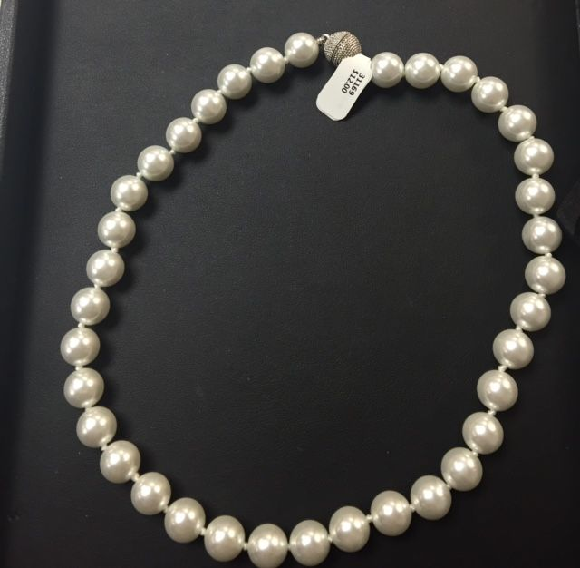 Elegant Pearl Necklace with Silver Magnetic Clasp