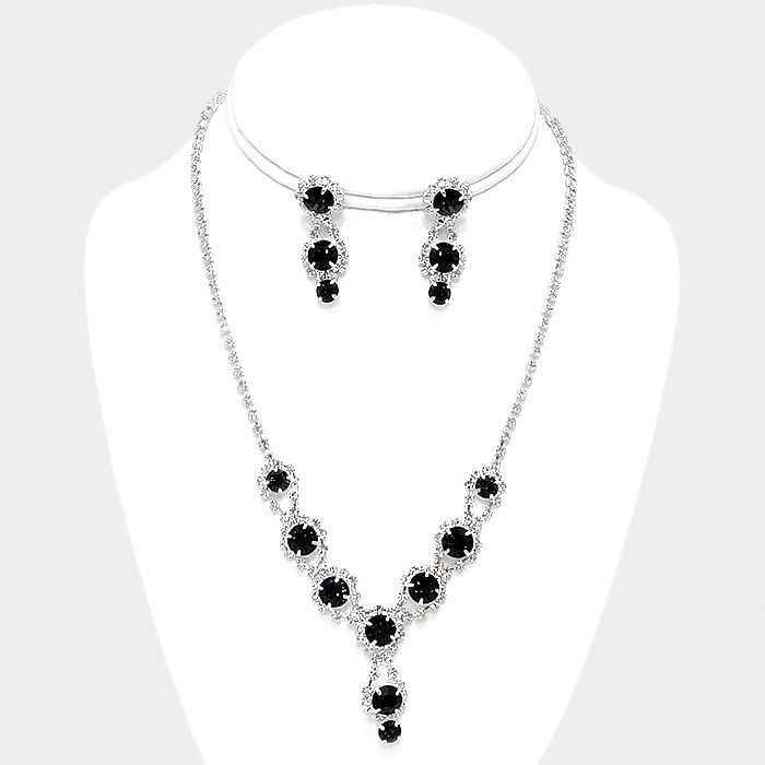 Silver with Clear and Black Rhinestone Drop Necklace