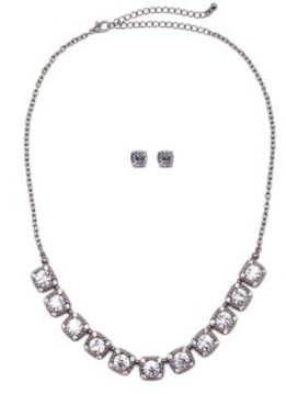 Silver, Clear Rhinestone Necklace with Square Design