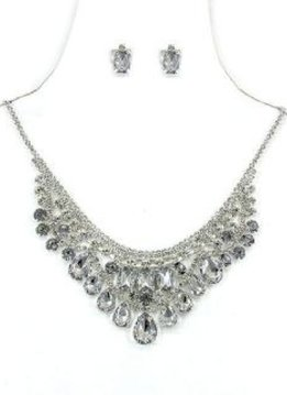 Silver Necklace with Clear Rhinestone Bib