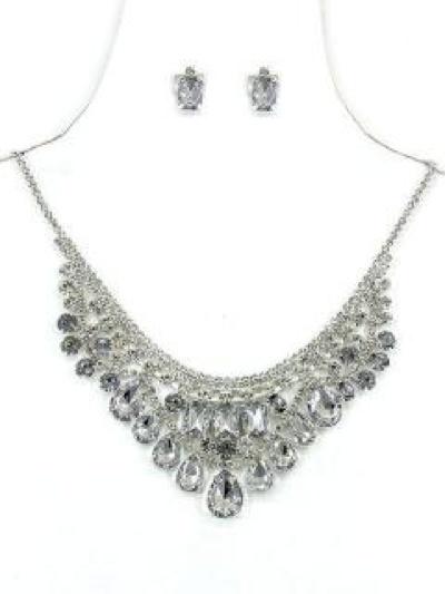 Silver Necklace with Clear Rhinestone Bib