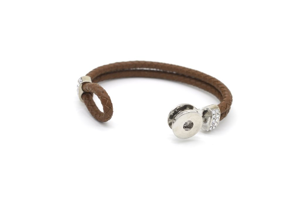 Braided Brown Leather Bracelet with Rhinestones