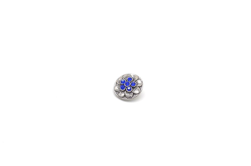 Blue-Studded Flower Snap Button