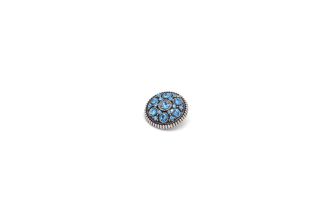 Light Blue, Rhinestone-Studded Snap Button