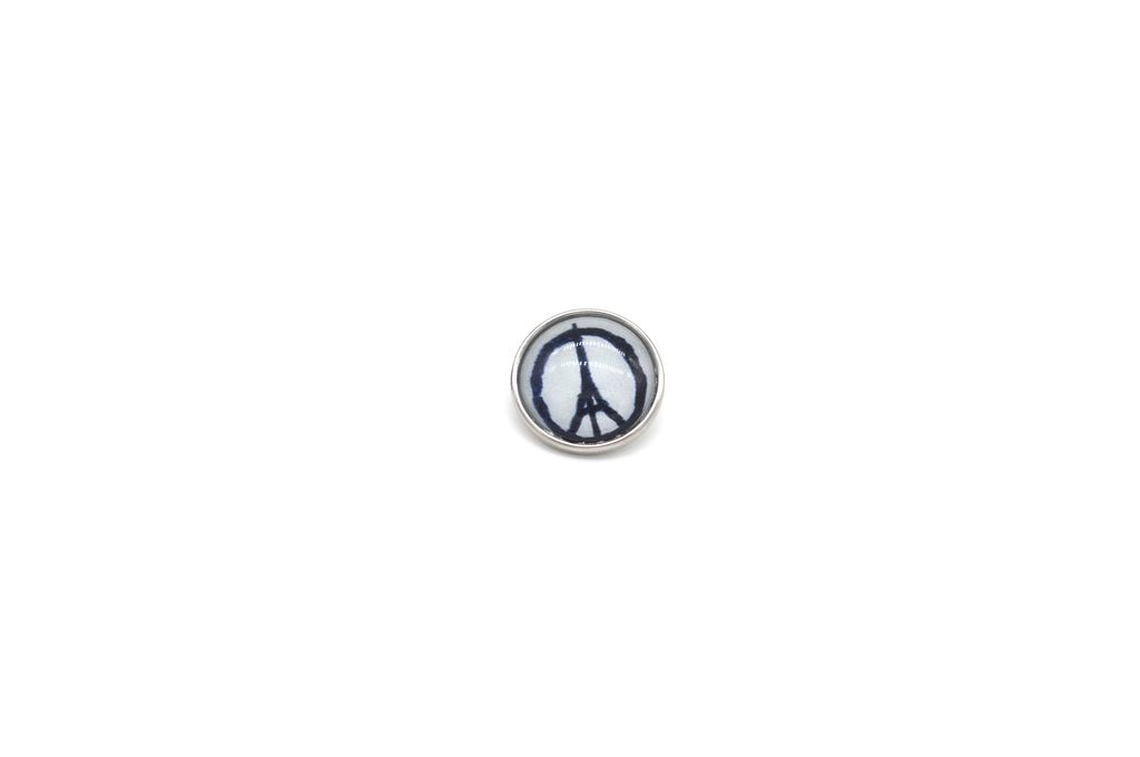 Eiffel Tower Doubling as Peace Sign Snap Button