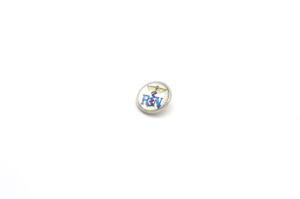 Blue Registered Nurse Snap Button