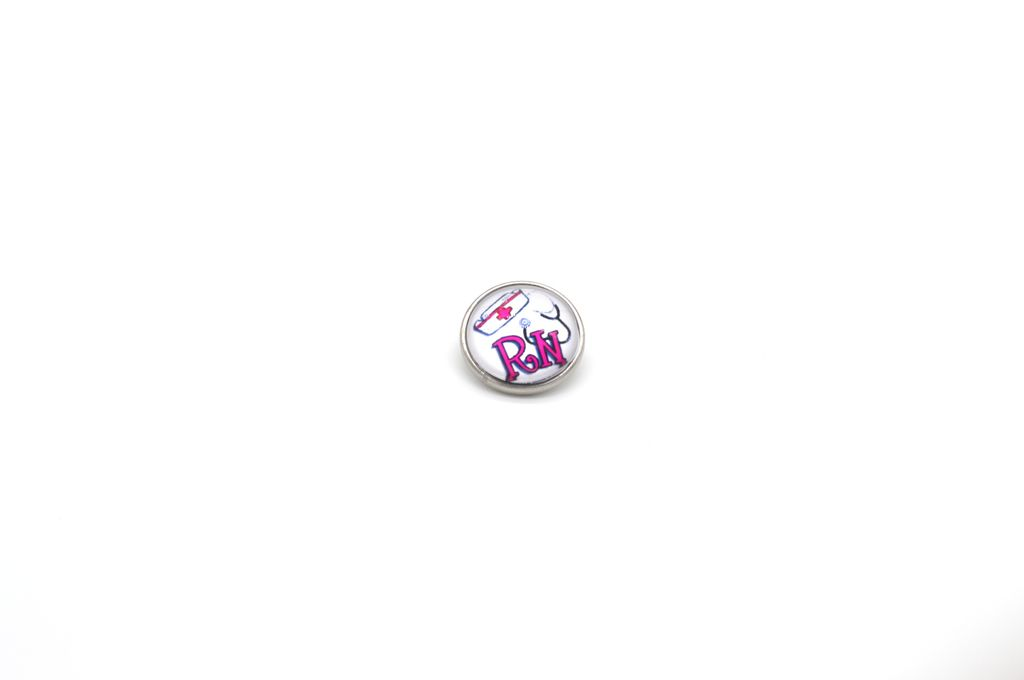 Pink Registered Nurse Snap Button